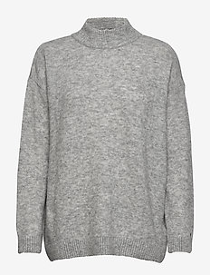 NEW MAKAYLA MOCK-NK SWTR - LIGHT GREY HEATHER