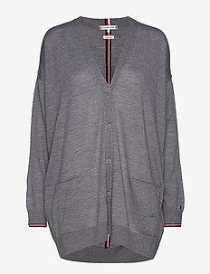 TH ESSENTIAL V-NK CARDI - cardigans - medium grey heather