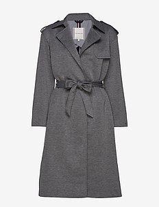 ROSHA WRAP TRENCH - uldfrakker - medium grey htr