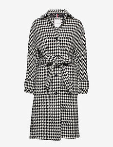 NICO VISUAL WOOL BLEND COAT - manteaux en laine - black white houndstooth