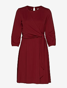 BARBARA WRAP DRESS LS - CABERNET