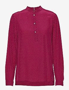 DION P-OVER BLOUSE LS - long sleeved blouses - mini monogram - brght jwl dsrt
