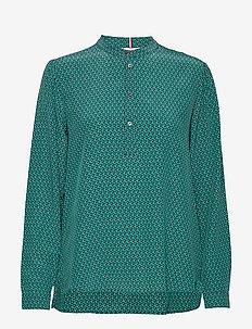 DION P-OVER BLOUSE LS - blouses à manches longues - mini monogram - dusty teal blk