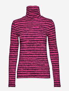 TH ESSENTIAL ROLL-NK TOP LS - striped t-shirts - mono scribble bright jewel