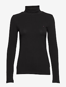 TH ESSENTIAL SLD ROLL-NK TOP LS - BLACK