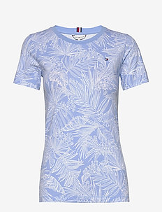 TH ESSENTIAL ROUND-N - gestreifte t-shirts - palm floral light iris blue
