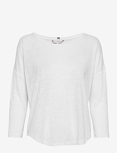 TALITA ROUND-NK TOP 3/4 SLV - long-sleeved tops - white