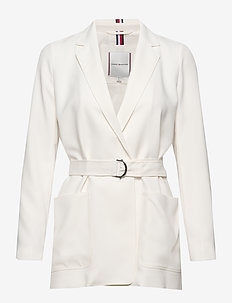 ANVERS SATIN CREPE BELTED BLAZER - tailored blazers - ivory