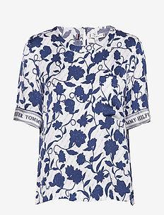 PEONIE TOP SS - bluzki z krótkim rękawem - joanna floral border / blue