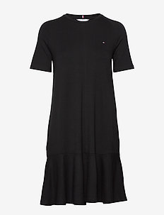 TIFFANY RELAXED C-NK DRESS SS - midi dresses - black