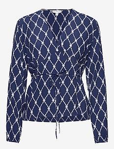LEONORA WRAP BLOUSE LS - long sleeved blouses - thc monogram prt / blue ink