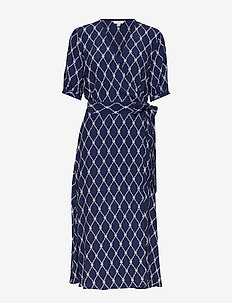 LEONORA WRAP DRESS SS - wrap dresses - thc monogram prt / blue ink