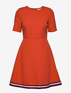 ANGELA GLB STP DRESS SS - midi dresses - bright vermillion
