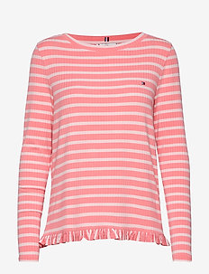 TANJA RELAXED BOAT-N - striped t-shirts - breton stp / pink gr. - pale p