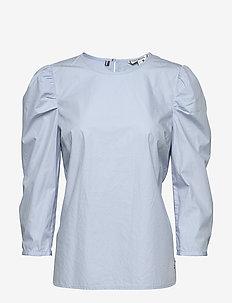 LEA BLOUSE 3/4 SLV - long sleeved blouses - breezy blue