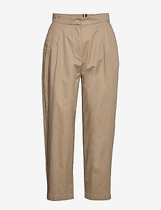 COTTON POPLIN TAPERED PANT - chinos - beige