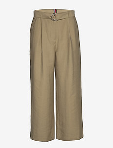 TENCEL TWILL WIDE LEG CR PANT - wide leg trousers - surplus khaki