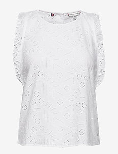 RUBI EMB TOP NS - blouses sans manches - th optic white