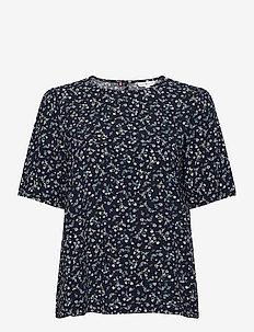 RAYA TOP SS - short-sleeved blouses - prairie floral desert sky