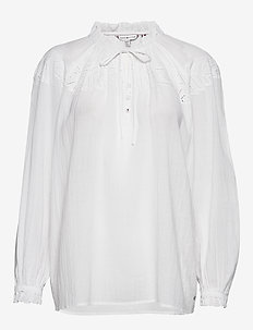 RUTH EMB BLOUSE LS - blouses à manches longues - th optic white