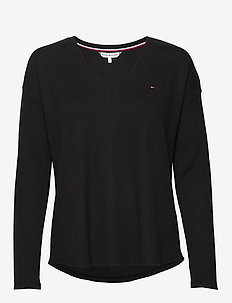 CATHY RELAXED V-NK TOP LS - truien - black