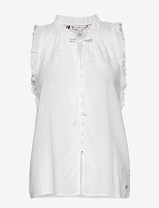 RUTH EMB TOP NS - blouses sans manches - th optic white