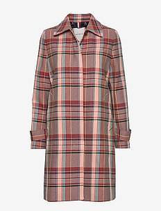 TESS COTTON BLEND CHECK MAC - trenssit - cameo check