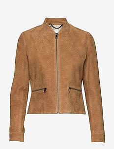NADIA SUEDE SLIM VARSITY JKT - leather jackets - sandy