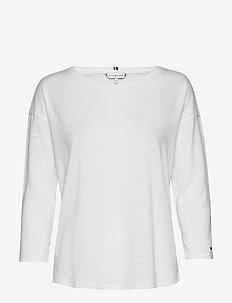 BRIANNA ROUND-NK TOP 3/4 SLV - long-sleeved tops - fine stp burn out white