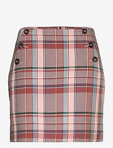 COTTON BLEND CHECK MINI SKIRT - jupes courtes - cameo check