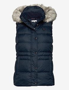 TH ESS TYRA DOWN VEST WITH FUR - puffer vests - desert sky