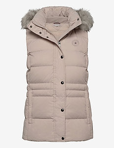 TH ESS TYRA DOWN VEST WITH FUR - vester - vintage white