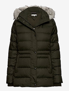 TH ESS TYRA DOWN JKT WITH FUR - toppatakit - camo green