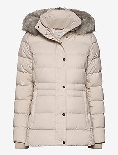 TH ESS TYRA DOWN JKT WITH FUR - down- & padded jackets - vintage white