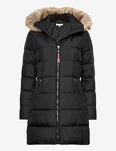 CL BAFFLE DOWN COAT WITH FUR - padded coats - black