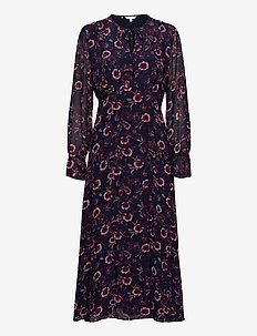 AMIA MIDI LS DRESS - midi kjoler - wildfloral prt / lakeside