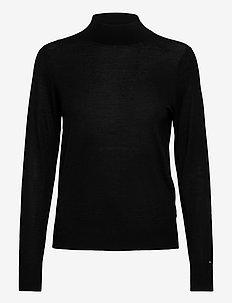 WOOL SILK MOCK-NK SWEATER LS - swetry - black