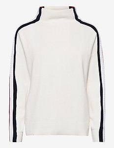 SIDE STRIPE MOCK-NK SWEATER LS - jumpers - ecru