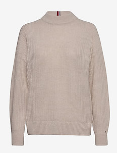 TEXTURED STITCH MOCK-NK SWEATER - turtlenecks - vintage white