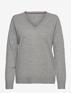 SP WOOL CASHMERE V-NK SWEATER LS - pullover - light grey heather