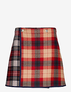 ICON WOOL CHECK MINI SKIRT - korte nederdele - red patchwork check