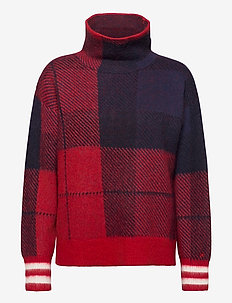 ICON CHECK HIGH-NK SWEATER LS - rolkraagtruien - icon check red/blue