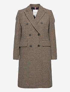 DB WOOL BLEND PATTERN COAT - uldfrakker - amelie blazer chk large beige