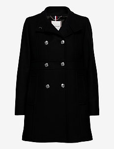 WOOL BLEND FUNNEL COAT - uldfrakker - black