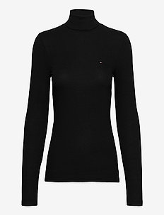 TH ESS SKINNY ROLL-NK RIB TOP LS - turtlenecks - black