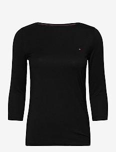 BOAT NECK TEE 3/4 - long-sleeved tops - black