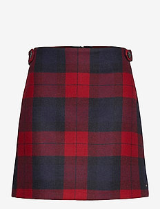 WOOL RED CHECK MINI SKIRT - jupes courtes - joanna chk / primary red