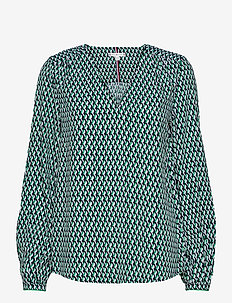 VISCOSE POPLIN BLOUSE LS - long sleeved blouses - court side geo / primary green