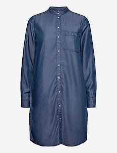CHAMBRAY SHORT SHIRT DRESS LS - skjortekjoler - lana