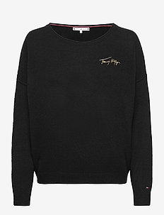 SOFTWOOL OPEN-NK GRAPHIC SWTR LS - jumpers - black